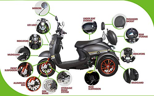 ortopedia-online-Green Power Scooter electrico de Movilidad Moto Para Personas Mayores Recreativo adulto 3 ruedas hasta 25 kmh 60V 100AH 600W 0 5